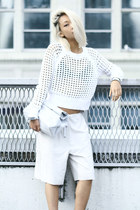 white mesh knit Rebecca Taylor sweater - white lunchy clutch Mode collective bag