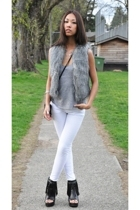Kate Moss for Topshop vest - American Apparel top - BLANC jeans - forever 21 boo