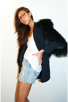 black Zara vest - blue Forever 21 blazer - white wilfred t-shirt - blue Levis sh