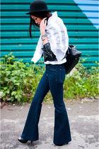 black Marc Jacobs bag - black Steve Madden shoes - blue J Brand jeans