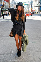 beige Alexander Wang bag - black BCBG boots - gray JNBY dress