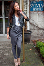 Black-vintage-jacket-gray-h-m-pants-white-tna-t-shirt-beige-ashsish-for-to