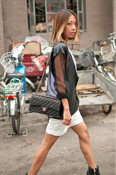 white Taobao shorts - black sam edelman boots - black Yesstyle jacket
