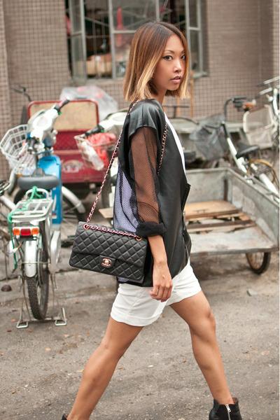 white Taobao shorts - black sam edelman boots - black Yesstyle jacket