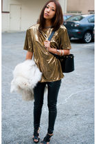 gold vintage top - black Zara shoes - white fox fur vintage coat