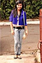 navy acid wash jeans - blue cropped Liz Clairbourne blazer - eggshell bag - blac