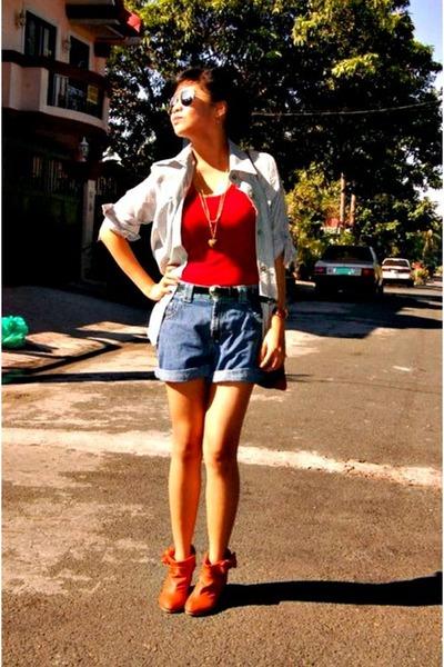 boots - shorts - top - blouse - Esprit accessories - accessories