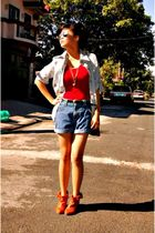 boots - shorts - top - blouse - Esprit accessories - accessories
