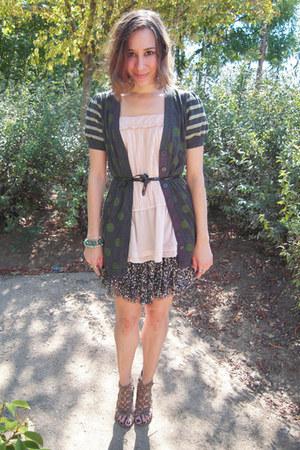 H&M shirt - Forever21 cardigan - Zara skirt - BLANCO wedges