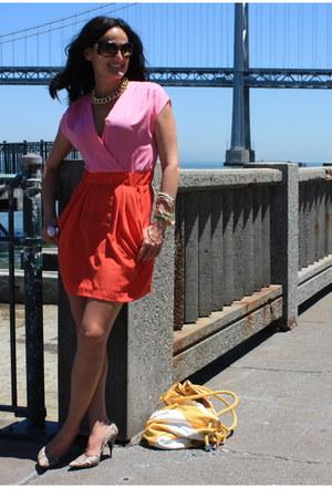 pink H&M dress - off white vintage heels