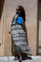 blue Pica 1988 top - periwinkle Gap vest - black H&M skirt