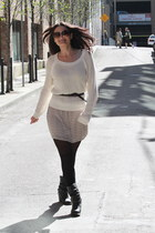 black Steve Madden boots - eggshell Forever 21 dress - cream Forever 21 sweater
