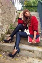 October jacket - H&M leggings - asos bag - vintage top - Zara heels