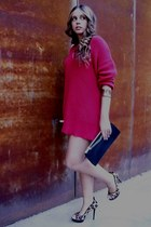 tricot red Zara sweater - Zara shoes - vintage bag - gold vintage bracelet