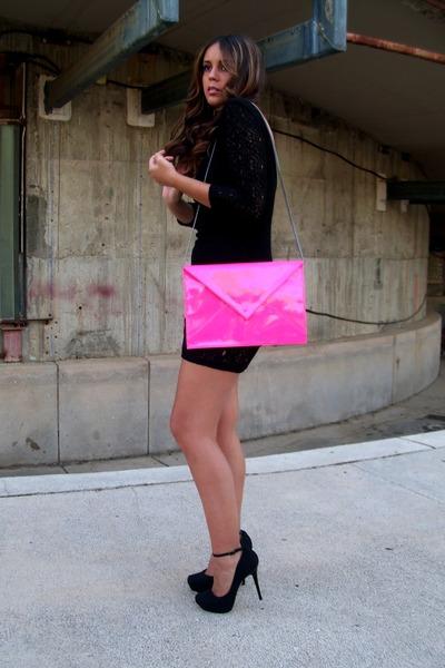 shocking pink Zara bag - lbd Zara dress - Bershka pumps