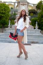 Zara coat - Zara boots - asos bag - Bershka shorts - vintage blouse