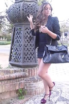 magenta Zara heels - black Zara dress - black M ango blazer - black v intAge bag