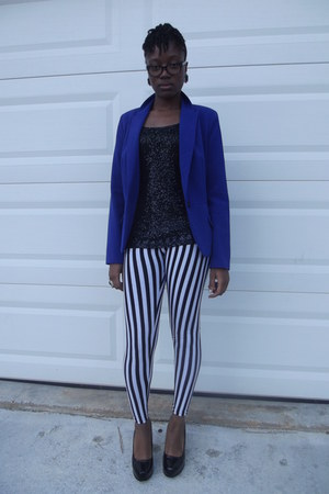 black JC Penny heels - Ebay leggings - royal blue JC Penny blazer
