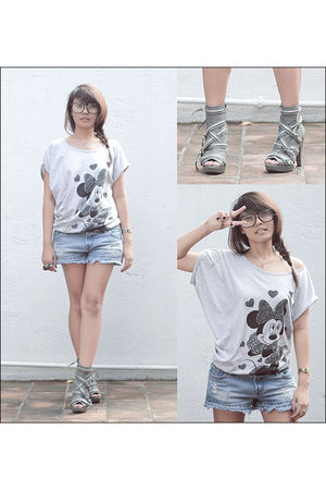 gray Dorothy Perkins t-shirt - blue Next Jeans shorts - gray Parisian SM Departm