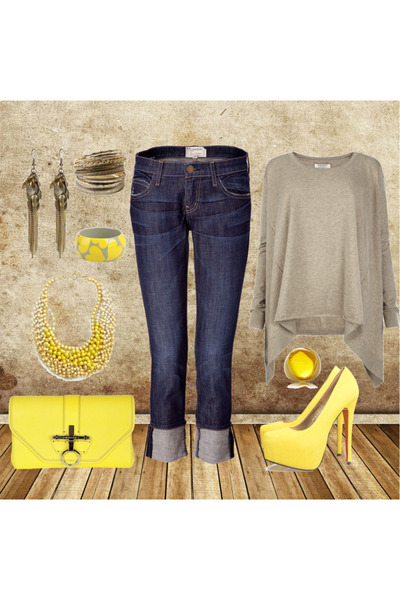 yellow platform AX Paris shoes , blue boyfriend jeans Current Elliott jeans