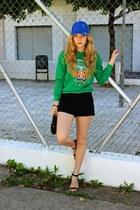 black Chanel purse - blue Primark hat - black Forever 21 shorts