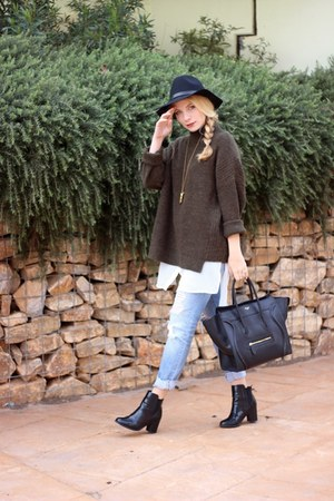 black H&M boots - sky blue Levis jeans - black H&M hat - army green asos sweater