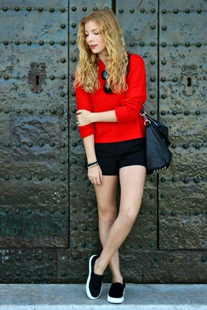 black VJ-style purse - red Forever 21 sweater - black Forever 21 shorts
