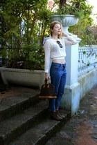 dark brown Louis Vuitton purse - light brown Forever 21 boots