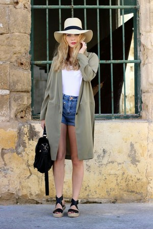 black VJ-style purse - beige asos hat - olive green H&M jacket