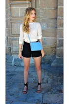 black Forever 21 shorts - eggshell Zara sweater - sky blue Celine purse