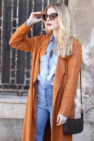 light brown Forever 21 boots - sky blue H&M jeans - bronze Sheinside jacket
