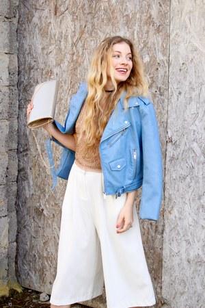 tan veritas bag - sky blue Zara jacket - tan Forever 21 top