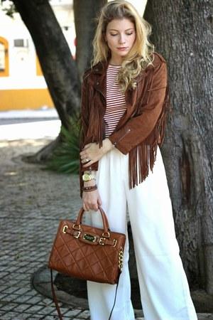 brown Bershka jacket - brown Michael Kors purse - brick red Stradivarius top