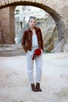 brown Forever 21 boots - dark brown Mango jacket - burnt orange Gucci purse