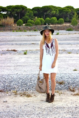 heather gray Aldo boots - white Mango dress - army green Forever 21 hat