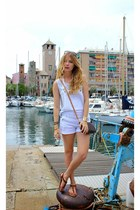 brown Louis Vuitton purse - white Ardene romper - light blue H&M top