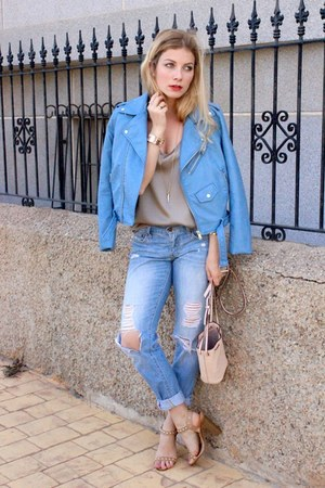 sky blue Zara jacket - light blue Levis jeans - light pink tory burch purse