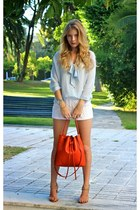 light blue Zara blouse - burnt orange lempi purse - white Forever 21 shorts