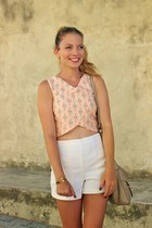 tan kate spade purse - white Forever 21 shorts - light pink Stradivarius top
