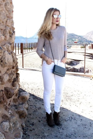 silver Mango sweater - heather gray Aldo boots - silver Chanel purse