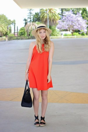 black Celine purse - orange Zara dress - tan Ale-Hop hat - black asos sandals