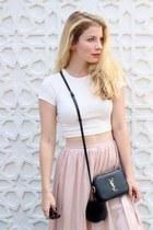 white urban behavior t-shirt - black YSL purse - light pink Forever 21 skirt