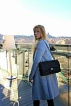 black Chanel purse - heather gray Stradivarius coat - silver Forever 21 sweater