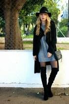 black Sante shoes boots - heather gray H&M dress - black H&M hat