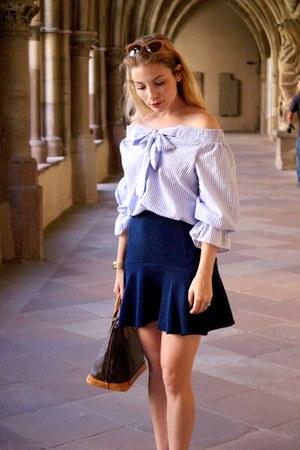 brown Louis Vuitton purse - navy Stradivarius skirt - blue Sheinside blouse