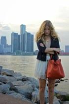 camel H&M top - navy Costa Blanca blazer - burnt orange lempi purse