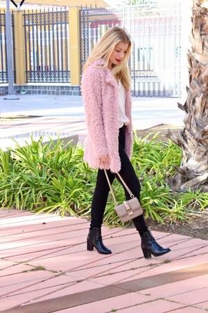 ivory H&M blouse - pink Sheinside coat - tan Valentino purse - black H&M heels
