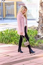 ivory H&M blouse - pink Sheinside coat - tan Valentino purse - black H&M heels