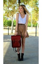 ruby red The Leather Satchel Co bag - dark brown DSW boots