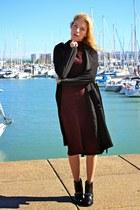 black Marypaz boots - crimson pull&bear dress - black Primark jacket